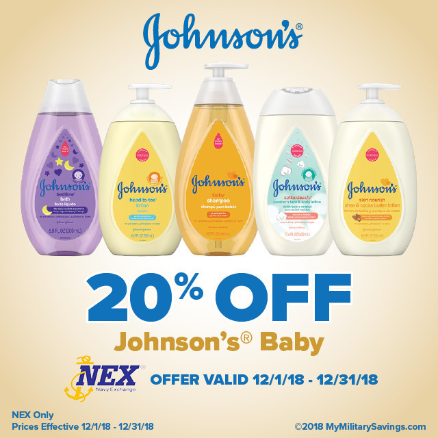 Save 20% on Johnson's® Baby Products at the Navy Exchange