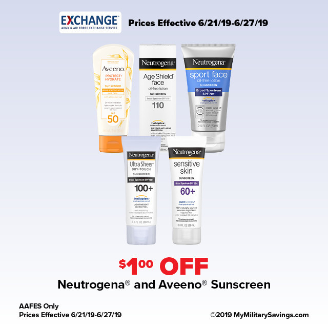 Neutrogena® and Aveeno® Sunscreen June AAFES Savings
