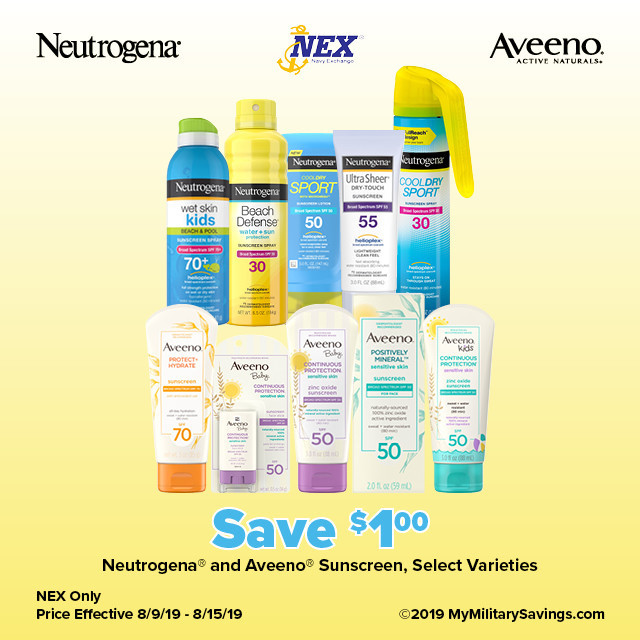 Save on Neutrogena® and Aveeno® Sunscreen at NEX!