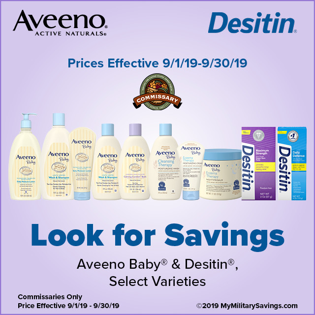 Save on Aveeno Baby® and Desitin® at the Commissary!